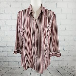 Covington petite -red, pink and white button down